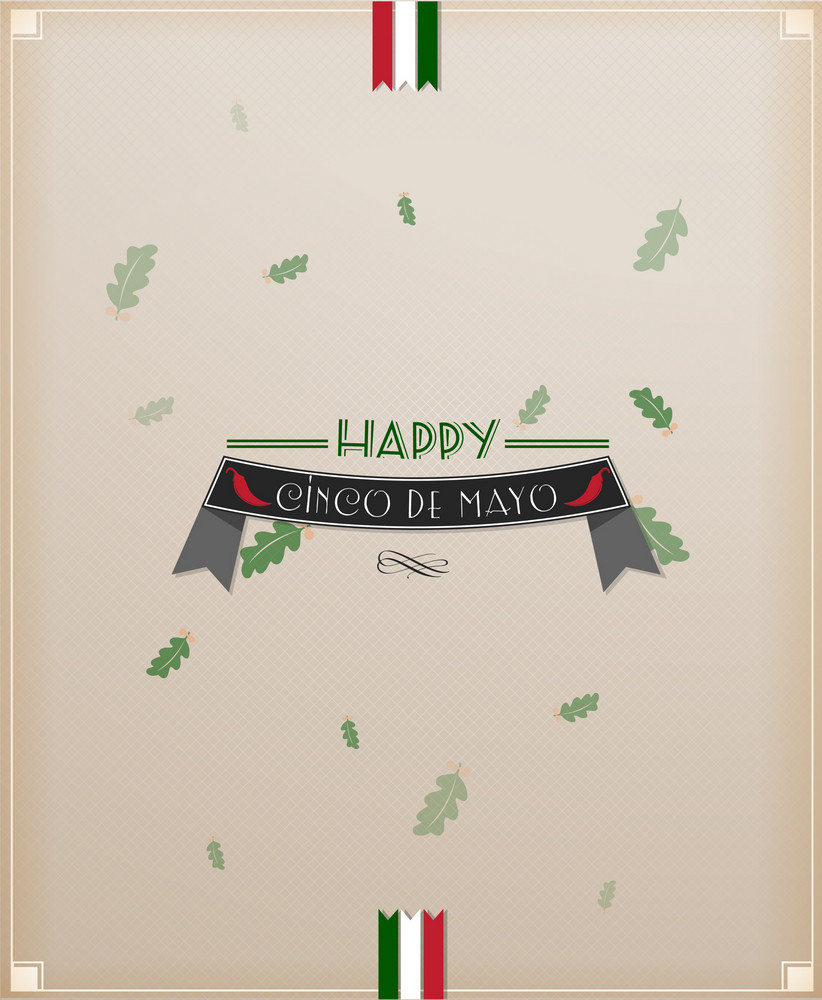Cinco De Mayo Vector Illustration With Ribbon And Leaves