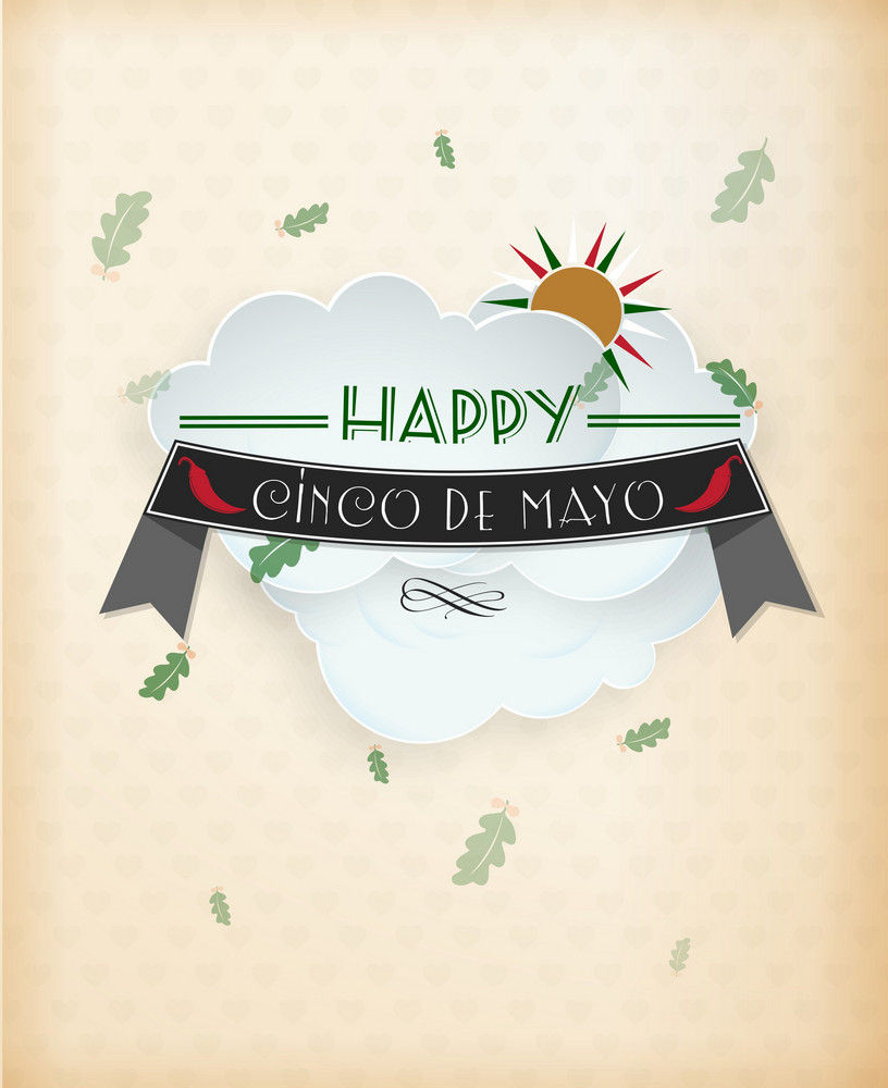 Cinco De Mayo Vector Illustration With Ribbon, Label And Clouds
