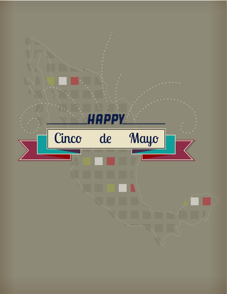 Cinco De Mayo Vector Illustration With Ribbon