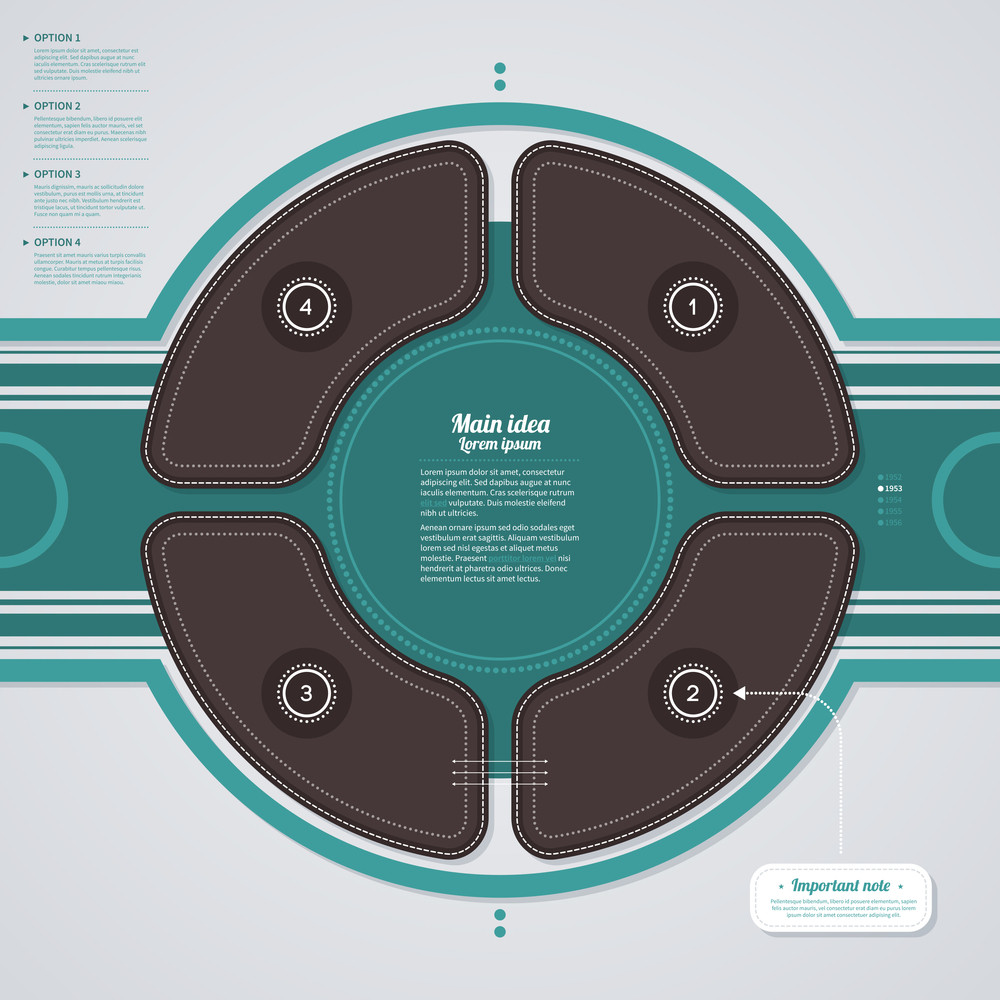 Circle Made Of 4 Options In Retro Style Eps10.