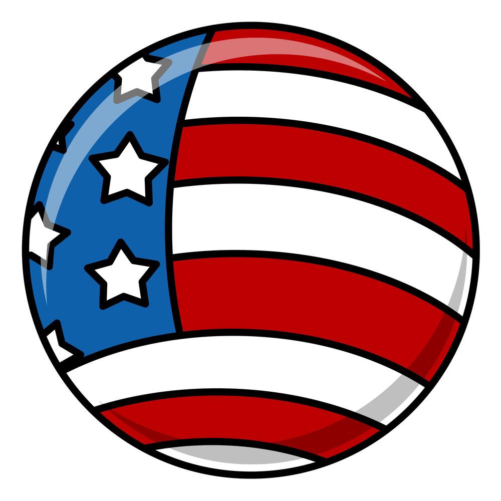 Circular Usa Flag Vector
