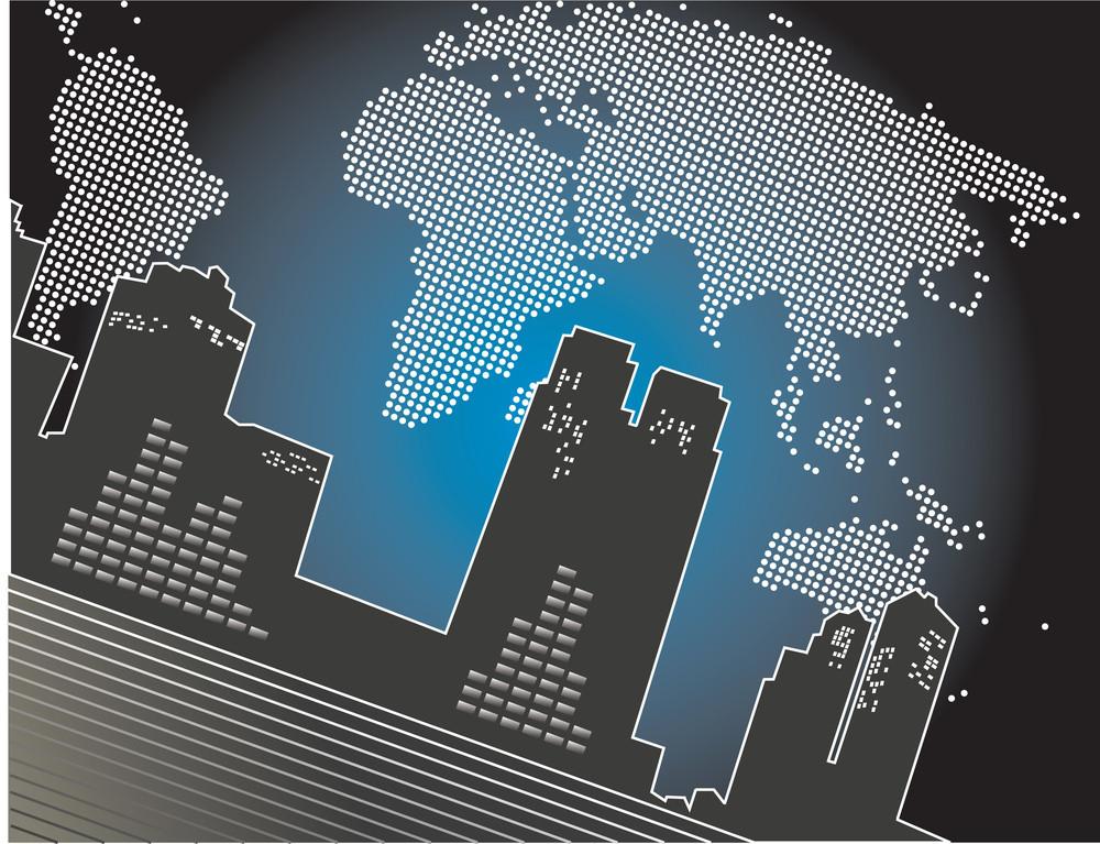 City At Night - Abstract Blue