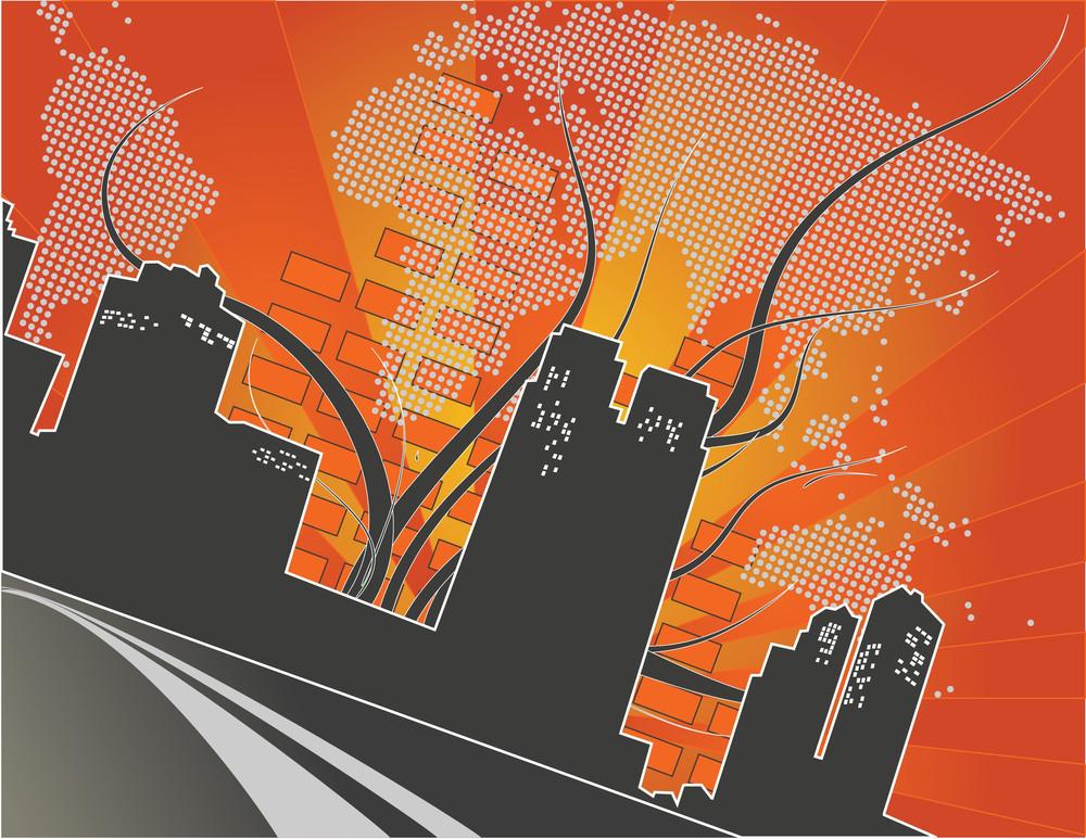City At Night - Abstract