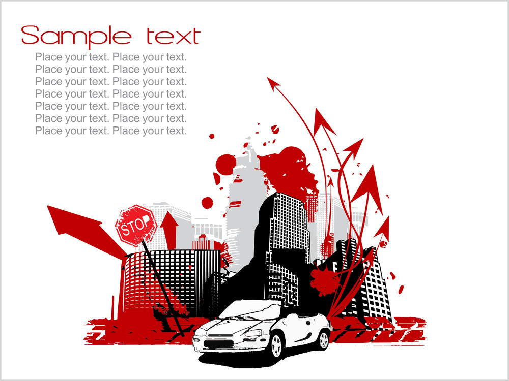 City Background With Arrows Car Silhouette