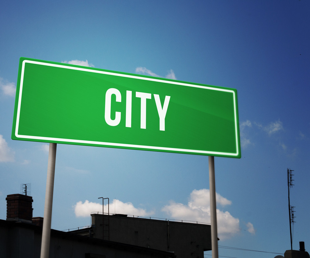 City On Green Road Sign