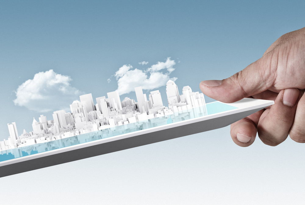 City On Touch Screen Tablet As Concept