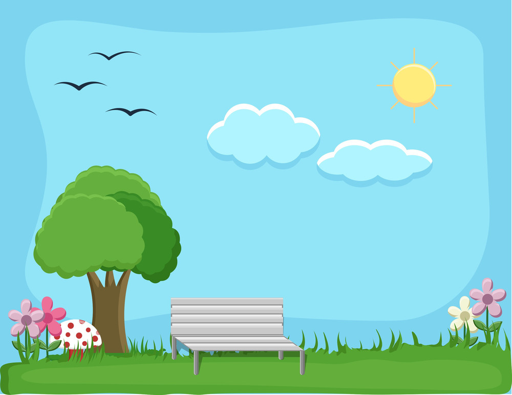 City Park - Cartoon Background Vector