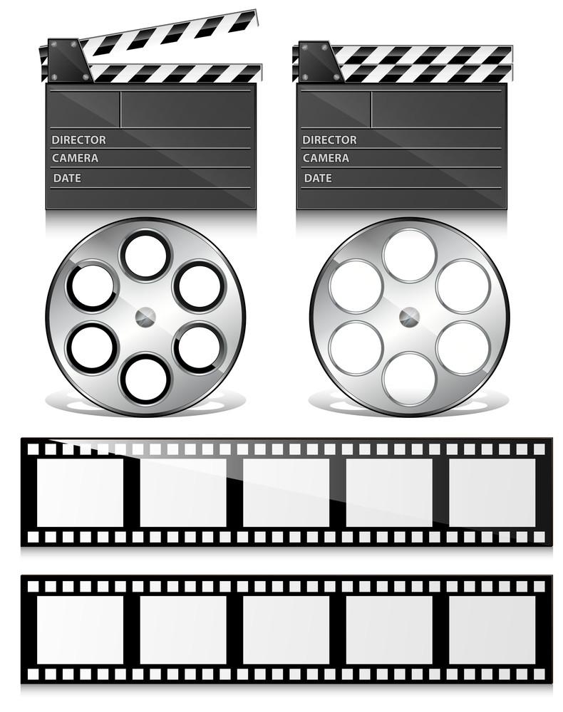 Clap Board And Film Reel Vectors