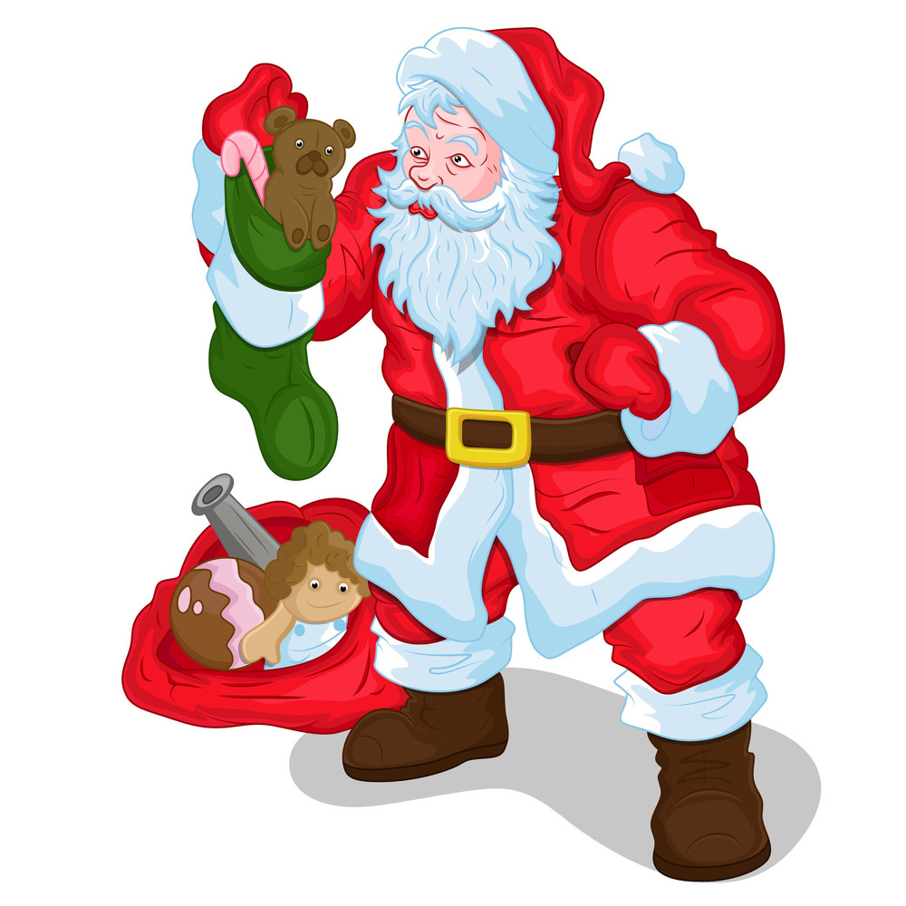 Classic Santa With Gifts And Toys Vector Illustration