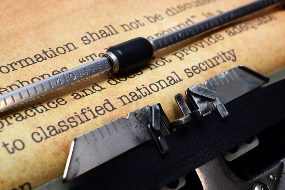 Classified Document On Typewriter