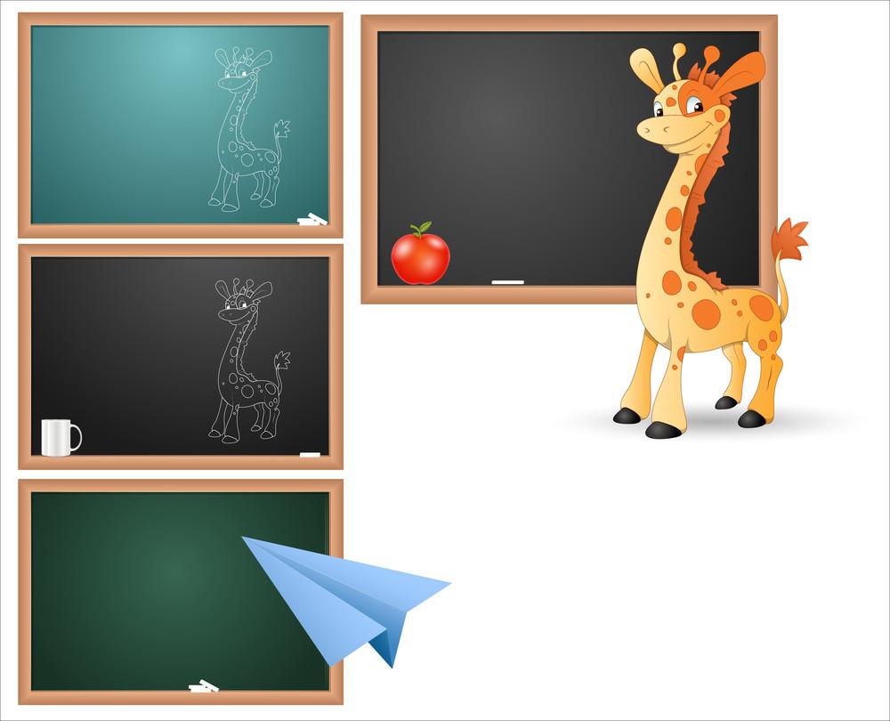 Classroom Board And Concepts Vectors