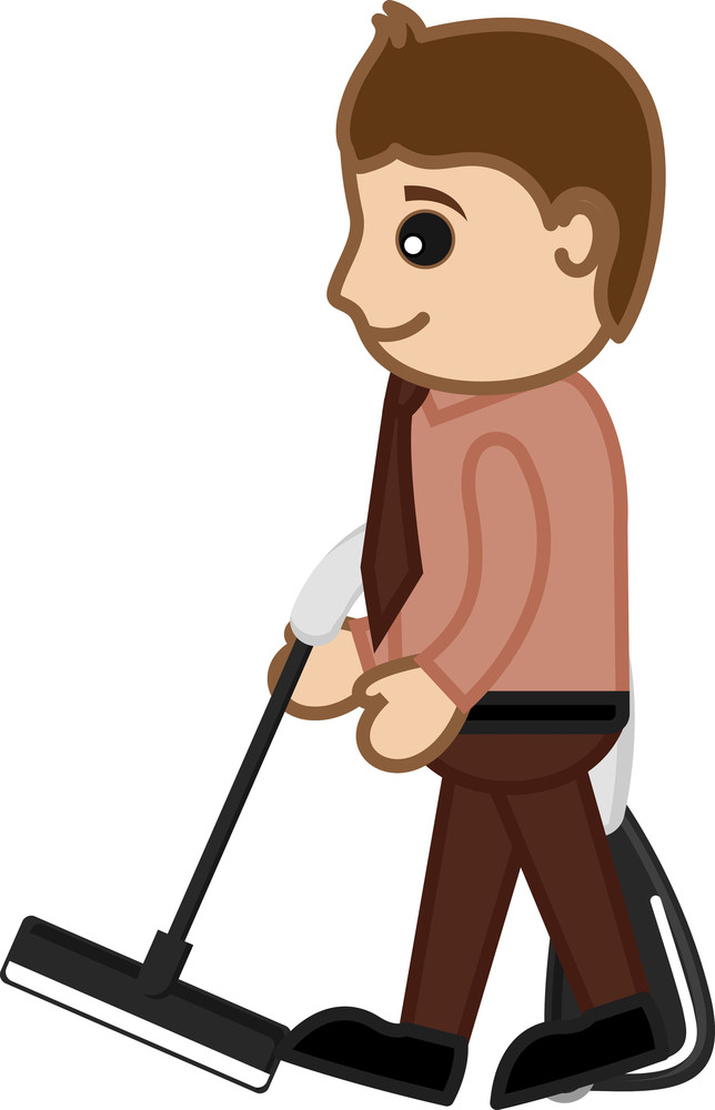 Cleaning With Vacuum Cleaner - Office Character - Vector Illustration