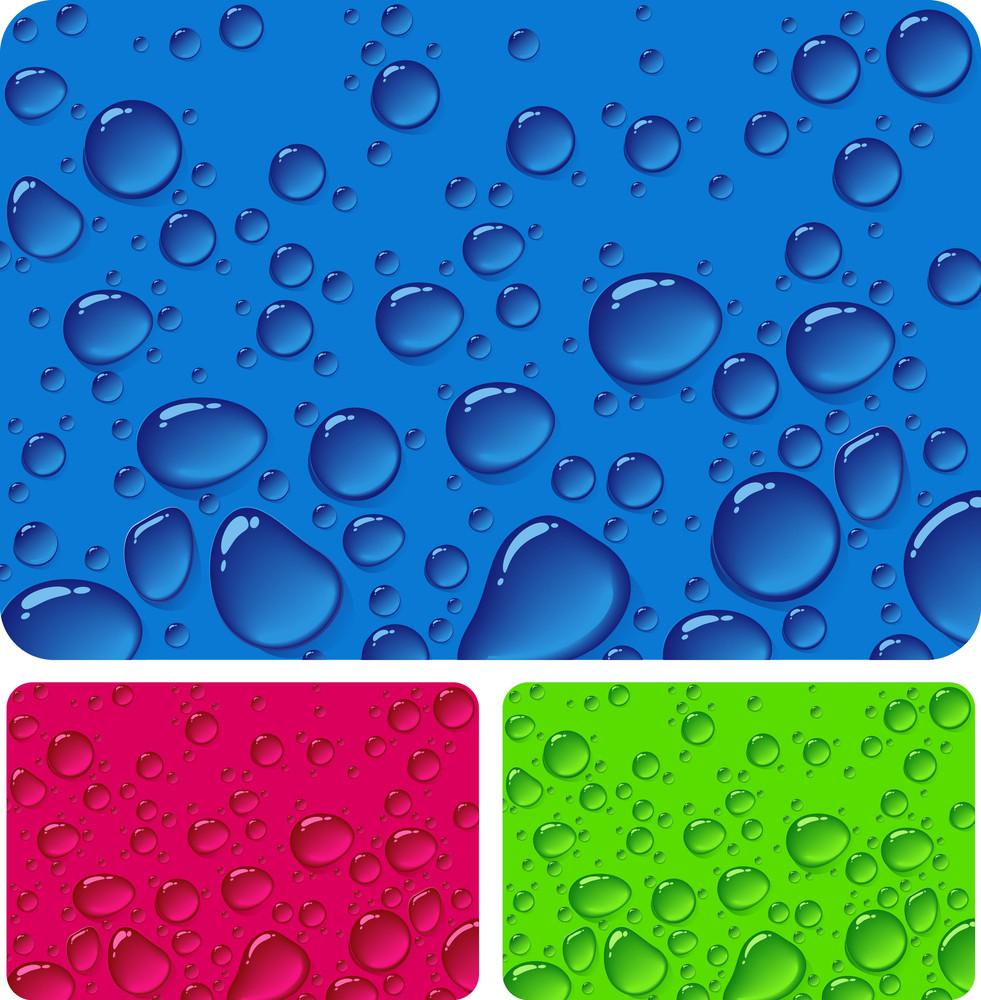Clear Drops. Vector Backgrounds Set.