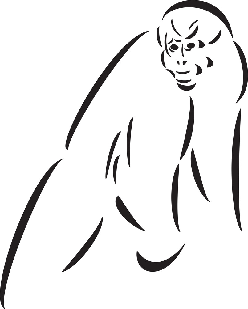 Climbing Ape In Black And White.