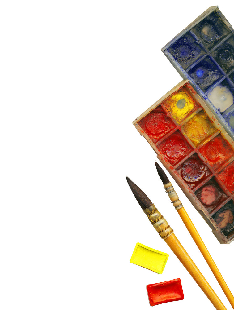 Clipping Path. Creative Art Background Made Of Old Paint Brushes