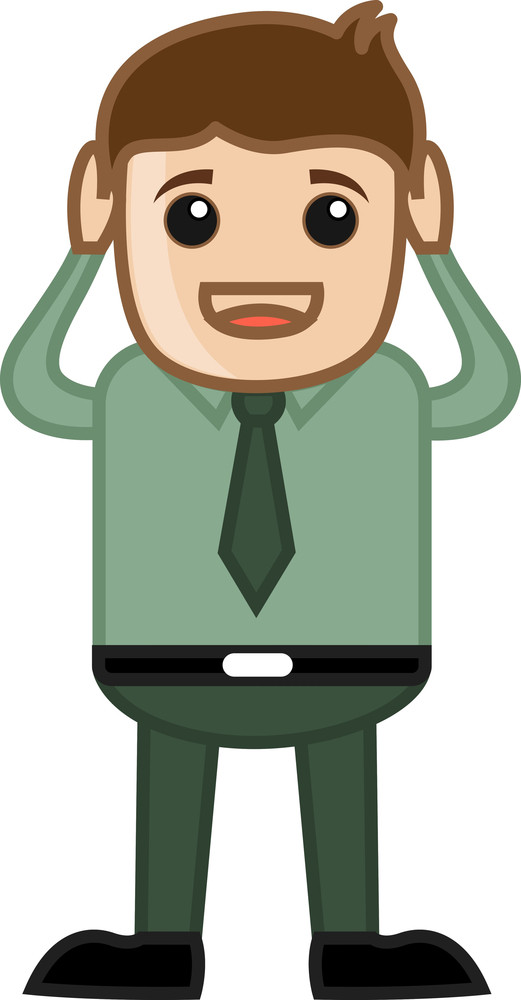 Close Ear - Business Cartoon Character Vector