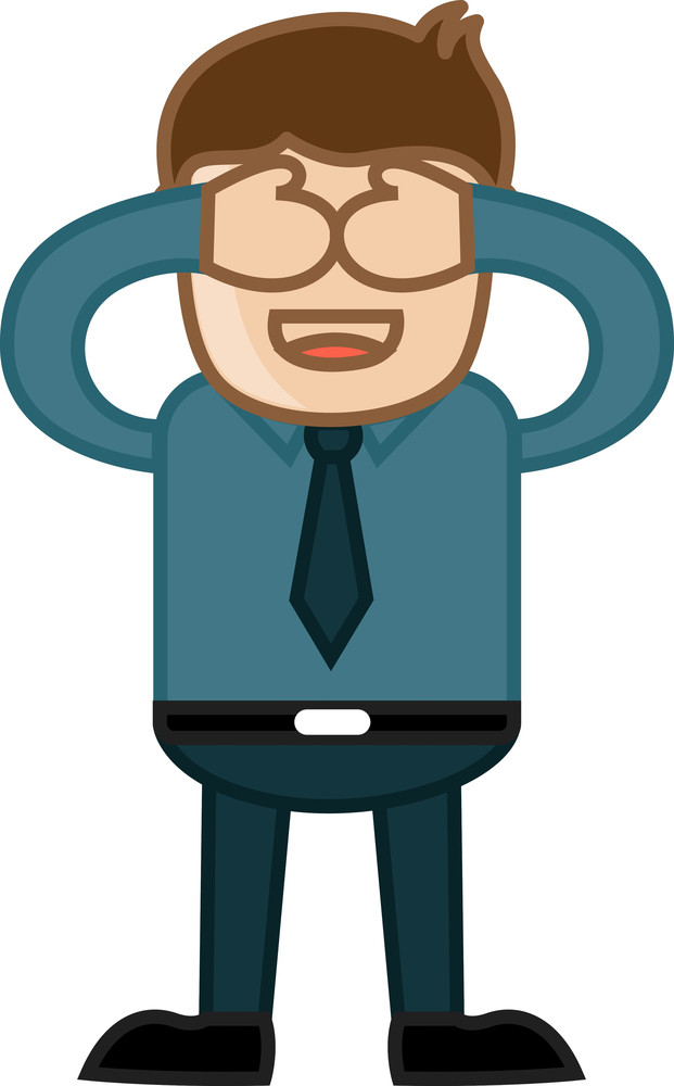 Close Eyes - Business Cartoon Character Vector