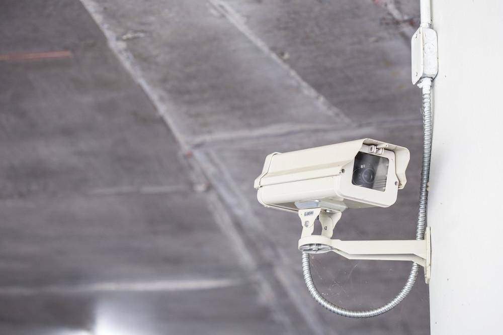 Close up CCTV Camera in car park
