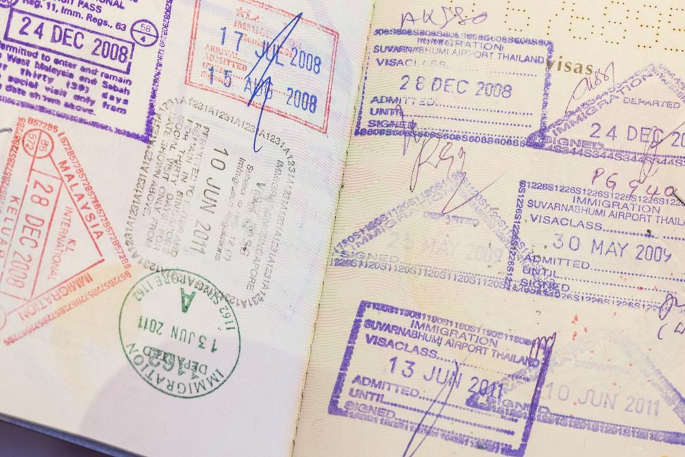 Close up Passport immigration Stamp