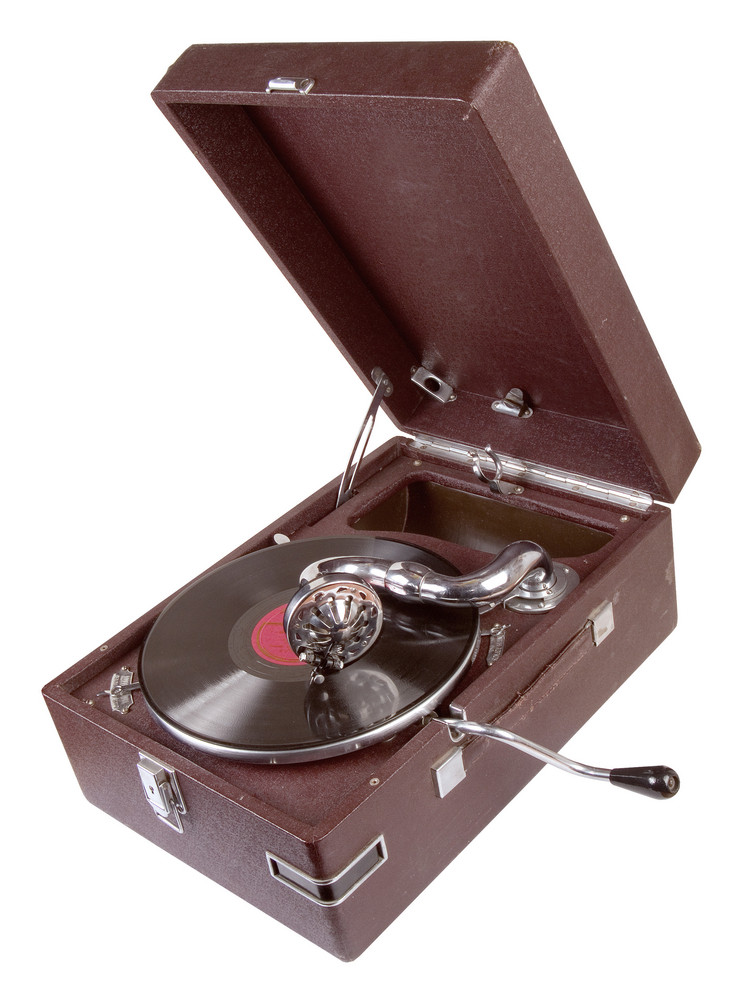 Close-up View Of Old-fashioned Record Player