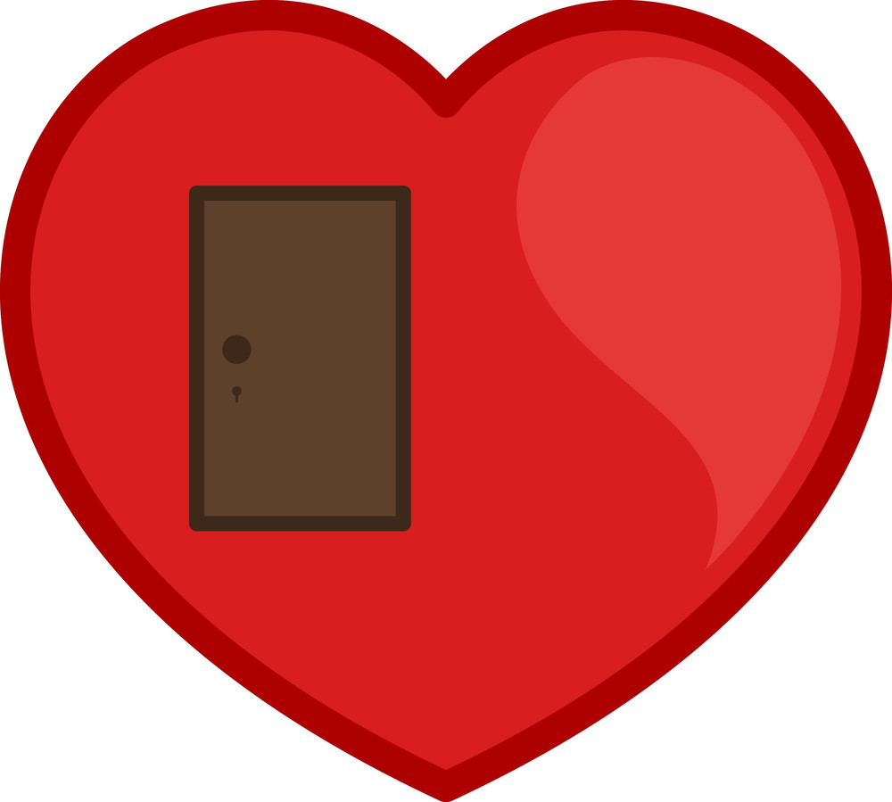 Closed Door Heart Vector