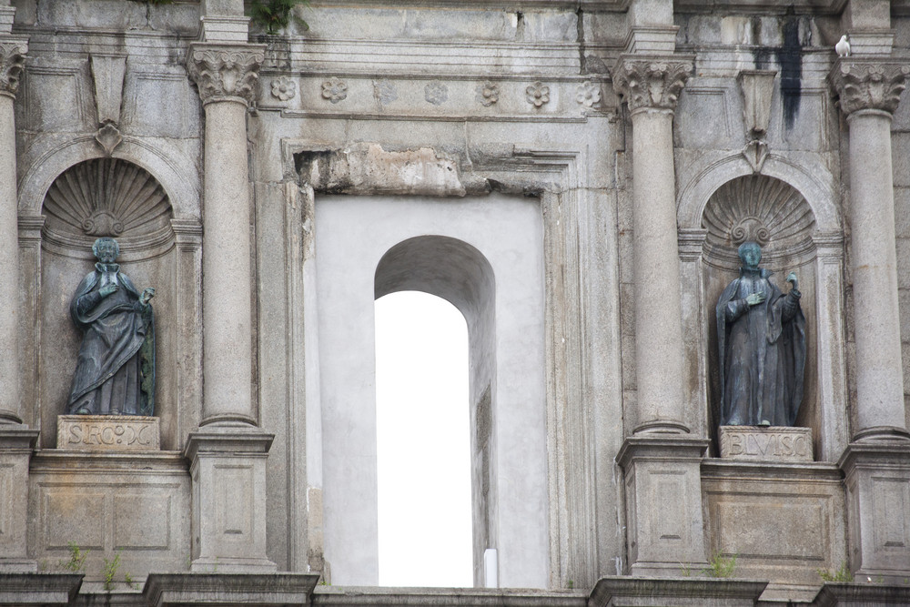 Closeup Facade of ruined church of St Paul. Macau. China