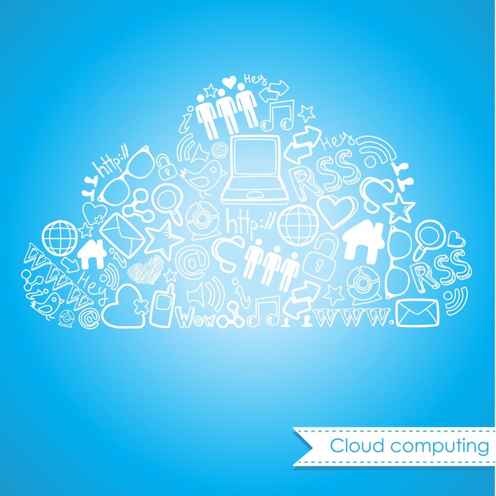 Cloud Computing And Social Media Concept. Cute Hand Drawn Doodles