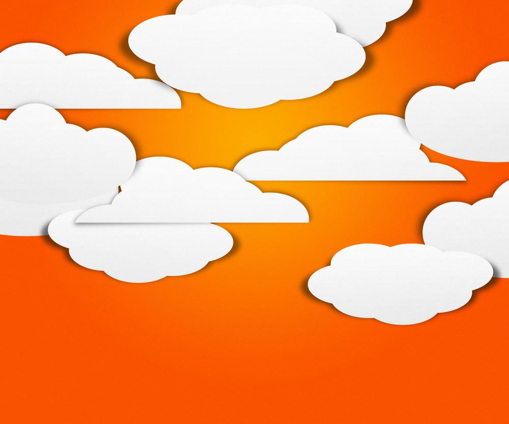 Clouds On Orange Background