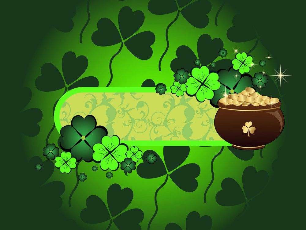 Clover Background With Earthenware