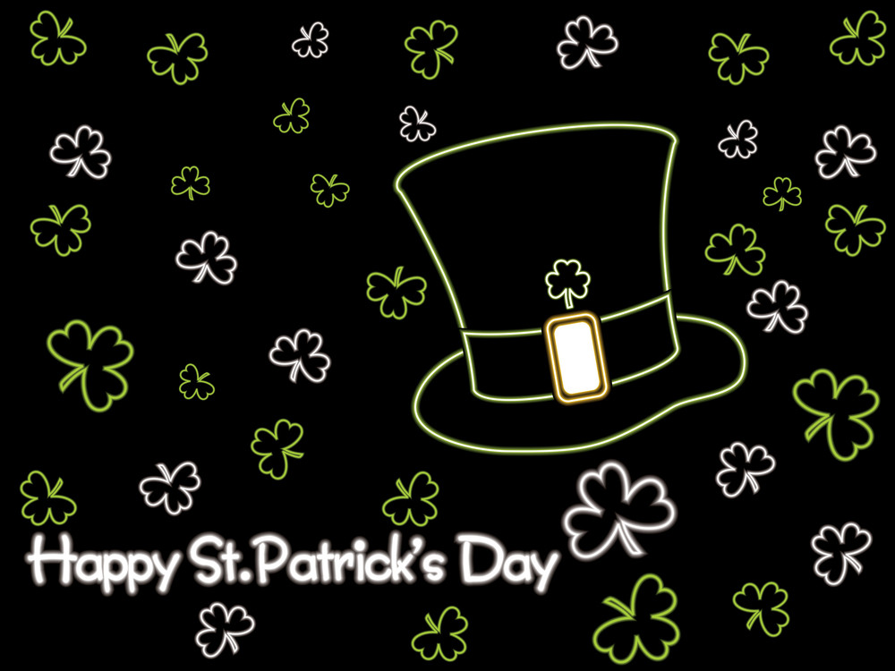 Clover Background With Isolated Hat