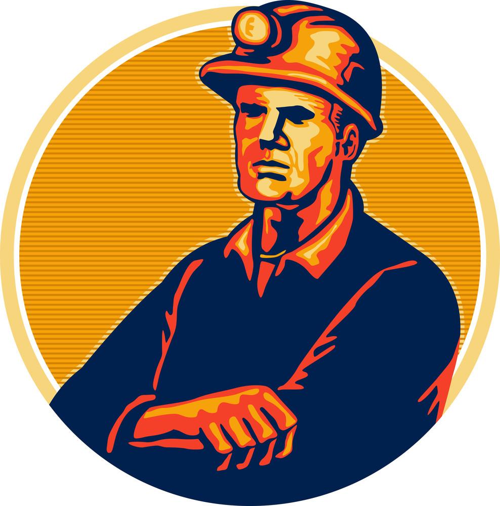 Coal Miner Arms Folded Retro