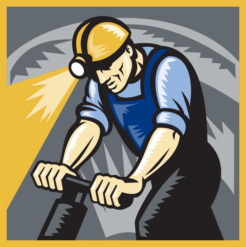 Coal Miner Drilling Pneumatic Drill Retro Woodcut