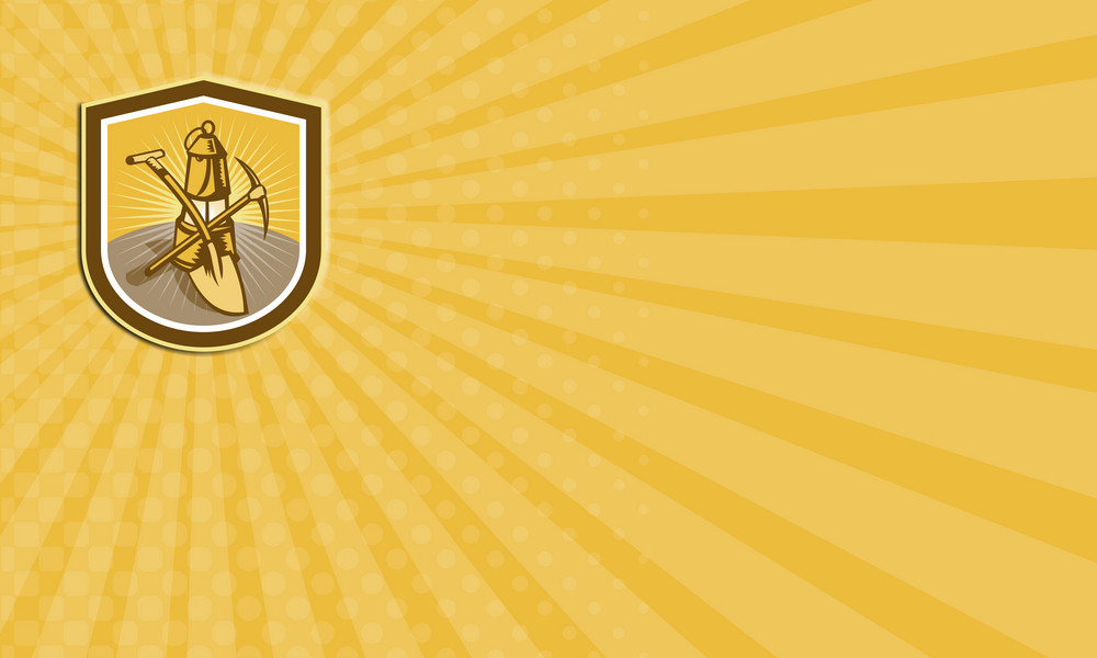 Coal Miner Pick Axe Shovel Lamp Shield Retro Business Card
