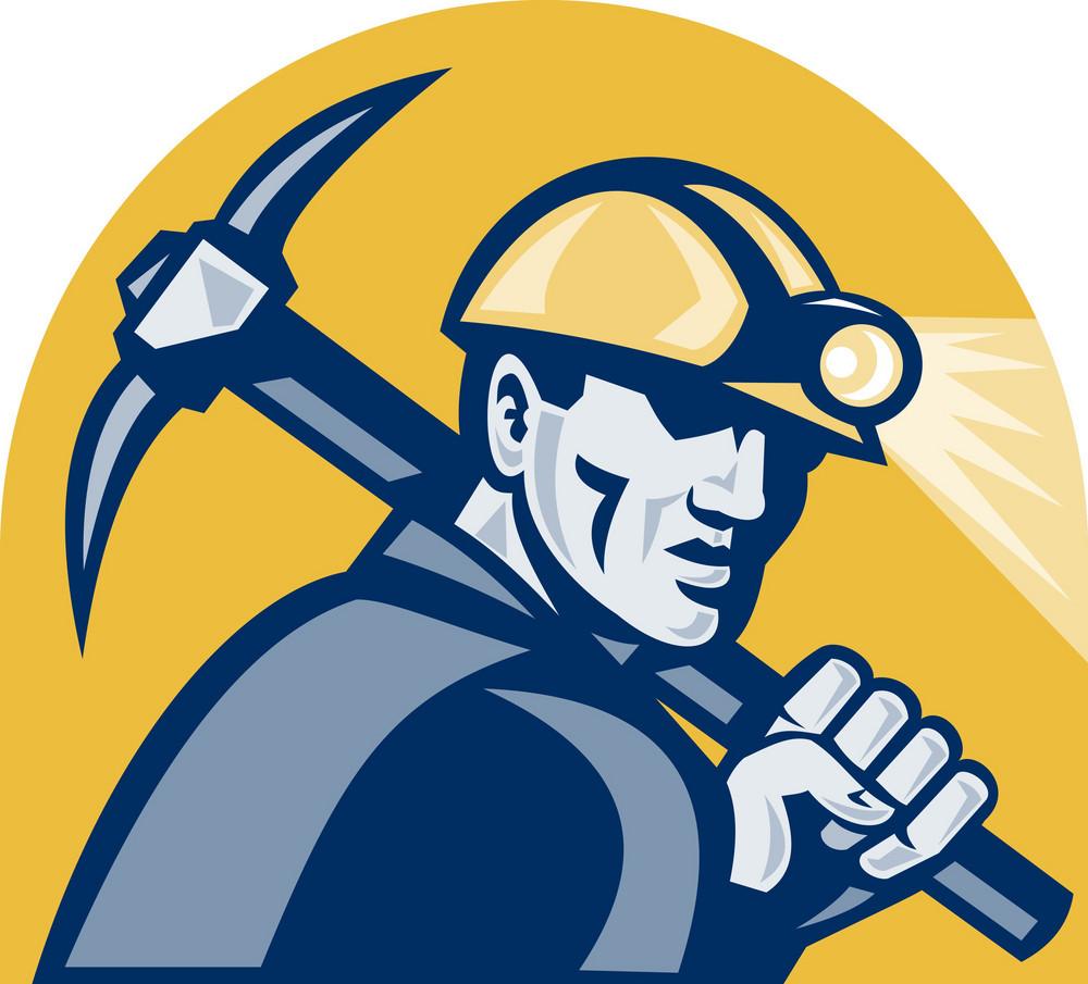 Coal Miner With Pick Axe Retro Woodcut