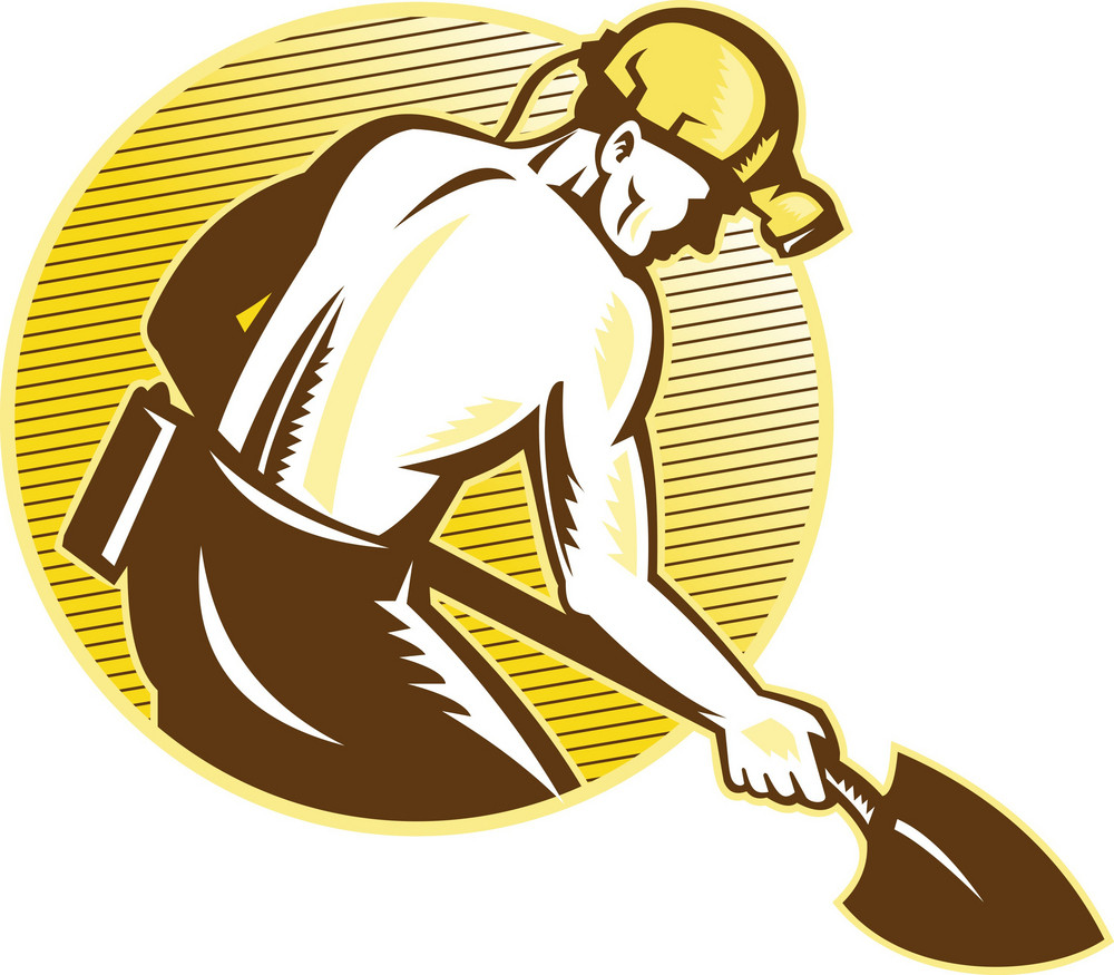 Coal Miner With Shovel Retro Woodcut
