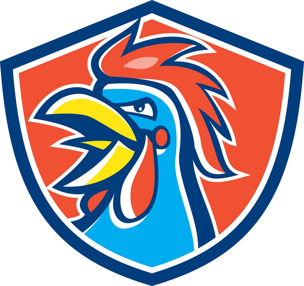 Cockerel Rooster Crowing Head Shield