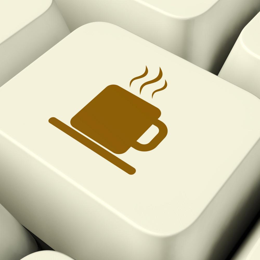 Coffee Mug Icon Computer Key For Taking A Break