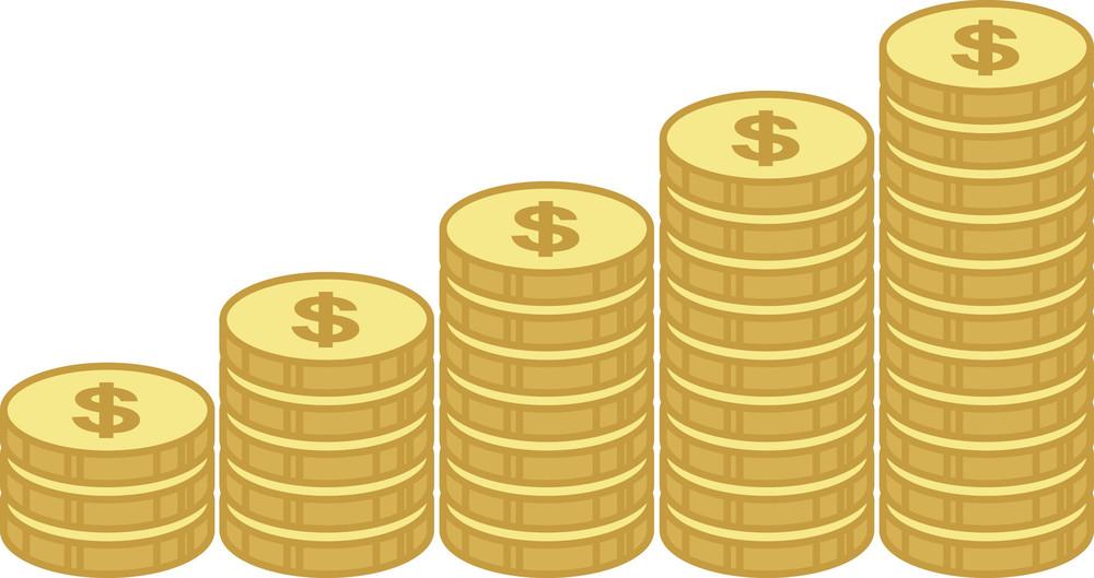 Coin Stacks - Profit And Saving Concept - Business Cartoons Vectors