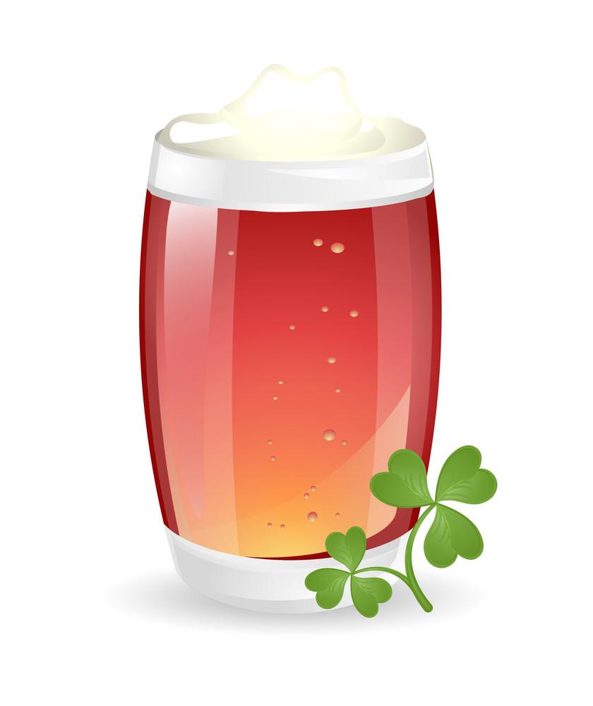 Cold Drink Glass With Shamrock Leaf