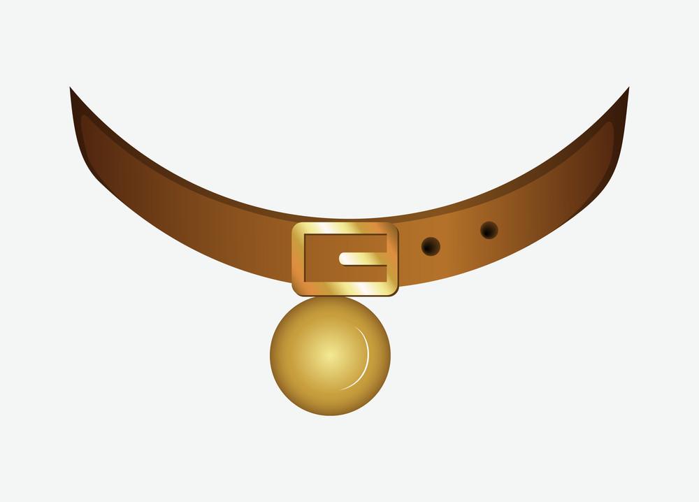 Collar With Golden Bell Vector