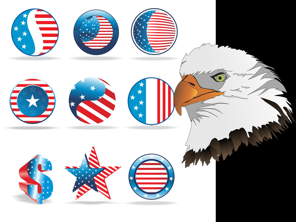 Collection Of Button In Us Flag Color