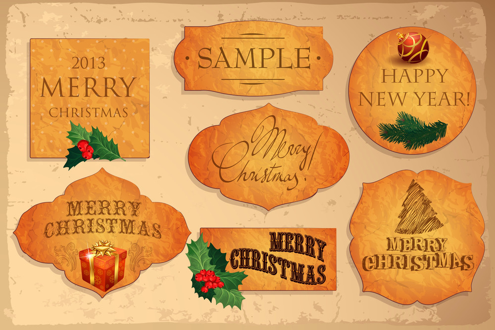 collection of christmas vector decorative elements tags labels stickers with santa christmas tree gifts holy and ribbons - Decorative Christmas Labels