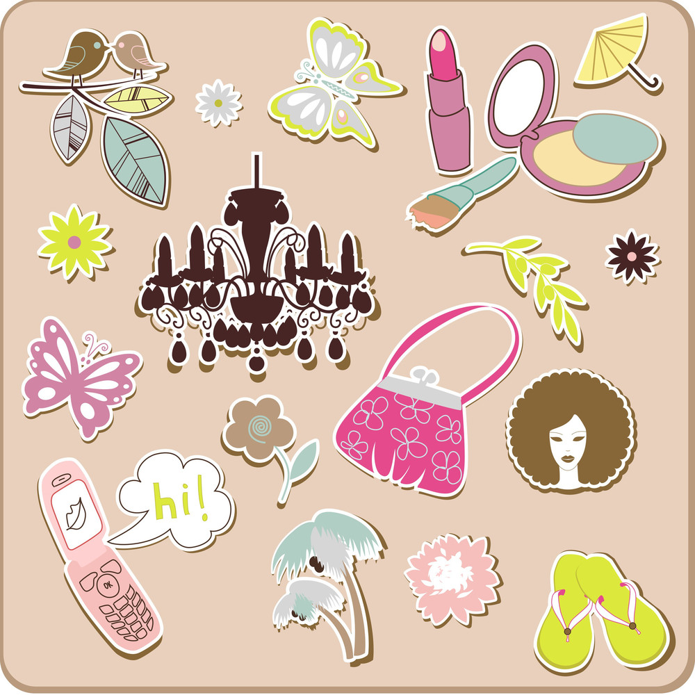 Collection Of Cute Stickers For Your Design