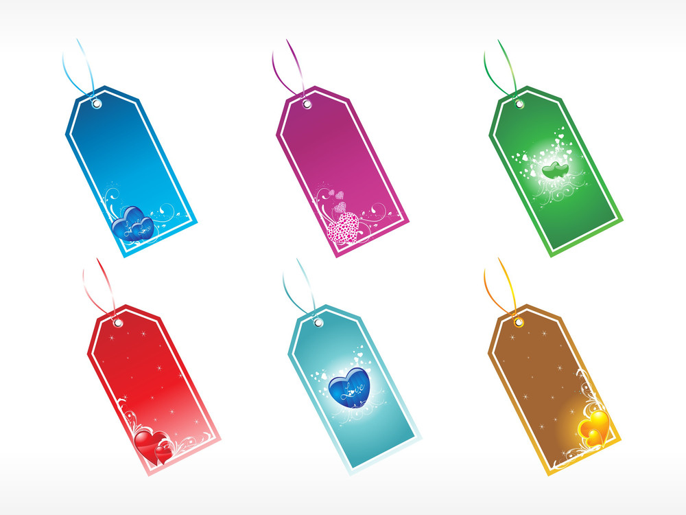 Collection Of Romantic Tags In Red