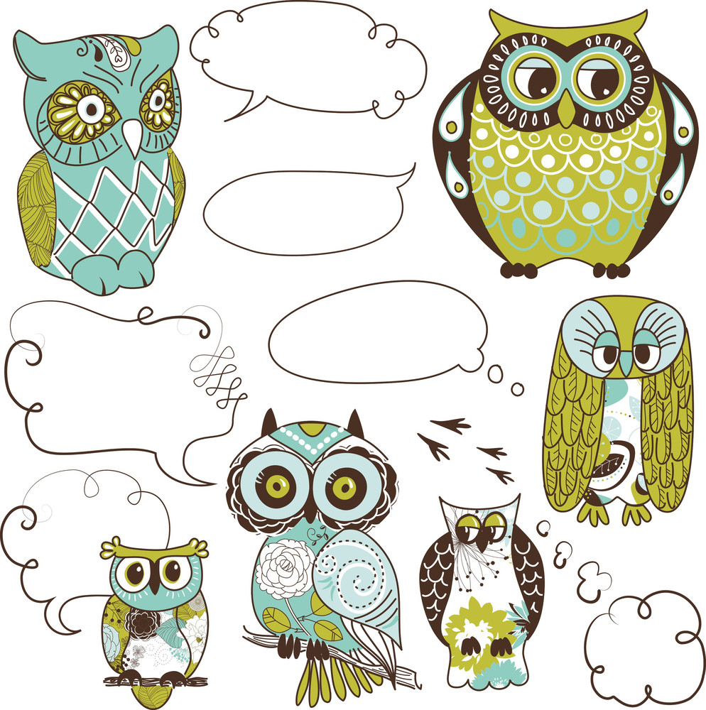 Collection Of Six Different Owls With Speach Bubbles