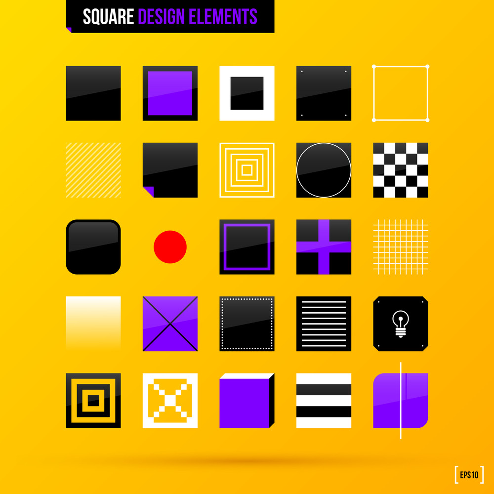 Collection Of Square Design Elements On Bright Yellow Background. Eps10