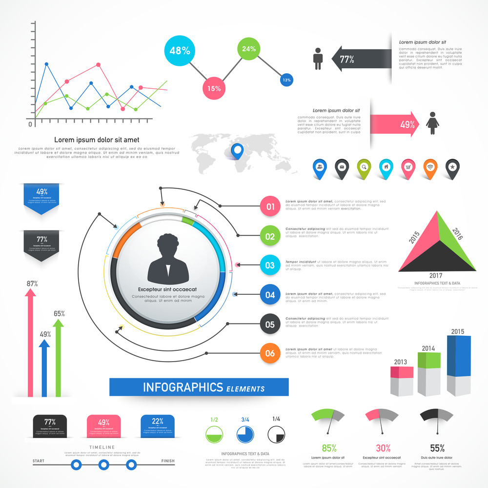 collection of various business infographics including statistical
