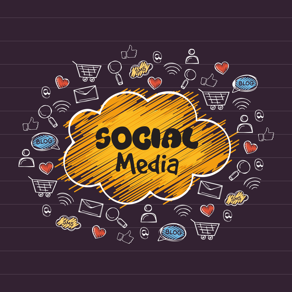 Collection of various social media icons signs and symbols for online communication concept.