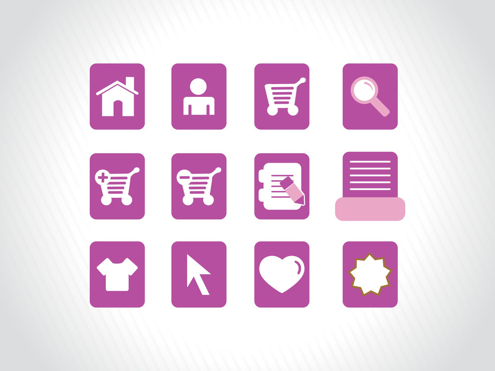 Collection Of Vector Icons On Purple