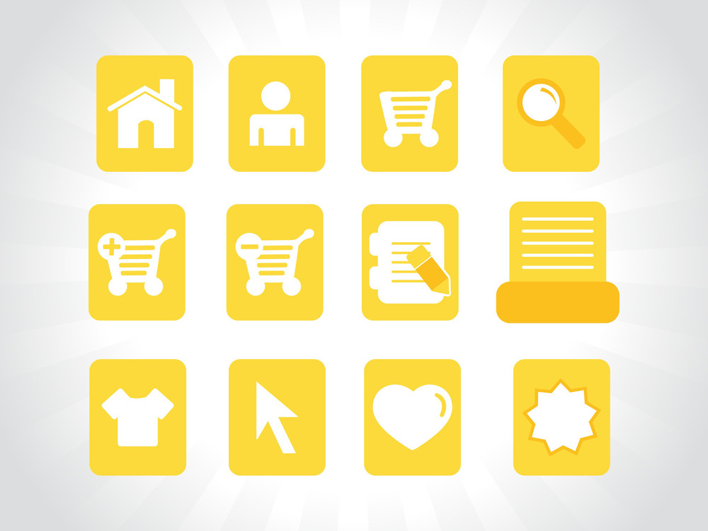 Collection Of Vector Icons On Yellow